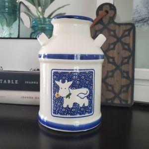 Vintage Cow Milk Farmhouse Blue White Vase